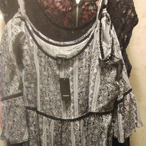 Torrid cas mxd prnt ls offshld chlls dress
